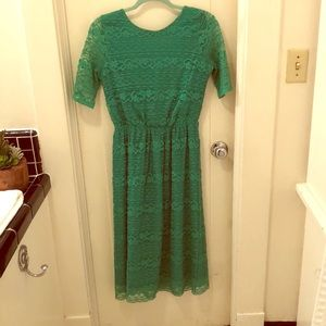 Green ASOS Lace Midi Dress